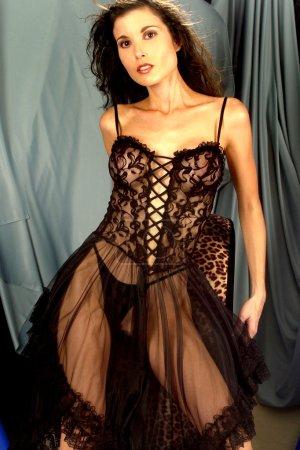 Sheer Black Lace  - Busty Brunette