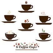 Coffee cup vector flat icon set for coffee or tea product package marking & labelling, menu decoration, web site user interface elements.