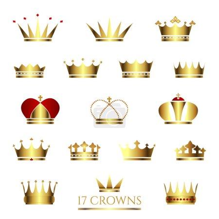 Set of  17 Golden Crowns.