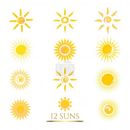 Set of 12 flat Sun icons.