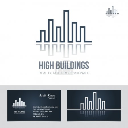 Illustration for Real Estate Business sign & Business Card vector template for architecture bureau, insurance, brokerage, building & renovation business. Business graphics. Corporate web site element. Sample text. Editable. - Royalty Free Image