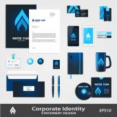 Water or Gas supply service business identity vector set including business logo template
