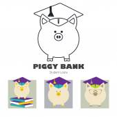 Piggy Bank in Graduate Hat vector icon in flat and linear style