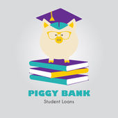 Piggy Bank in Graduate Hat vector icon in flat style