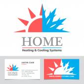 Heating & Cooling systems business icon & business card vector template