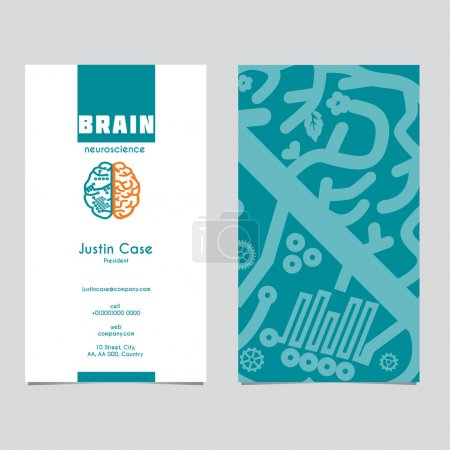 Brain icon design & business card template for Neuroscience & Medicine.