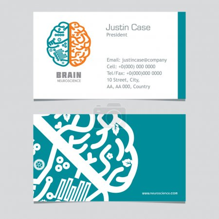 Human Brain vector icon & business card template.