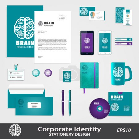 Medical Science business identity template set with Human Brain vector icon.