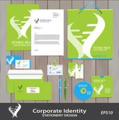 Abstract Abstract DNA Spiral business sign & corporate identity set vector template