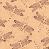 Dragonfly seamless vector pattern Bright summer background with dragonflies & plants Use for textiles interior & pillow decoration wrapping paper linens cosmetics labeling Editable