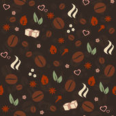 Coffee & Spices vector seamless pattern Love Coffee vector background for food labeling & package decoration cafe menu & interior