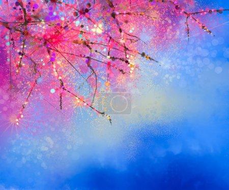 Photo pour Aquarelle Fleurs de cerisier - Cerisier japonais - Sakura floral avec ciel bleu. Fleurs roses de couleur douce avec fond de nature floue. Fleur de printemps fond naturel saisonnier avec bokeh - image libre de droit
