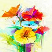 """Постер, картина, фотообои """"Абстрактные картины маслом цветок весны. Натюрморт желтые, розовые и красные герберы, Дейзи"""""""