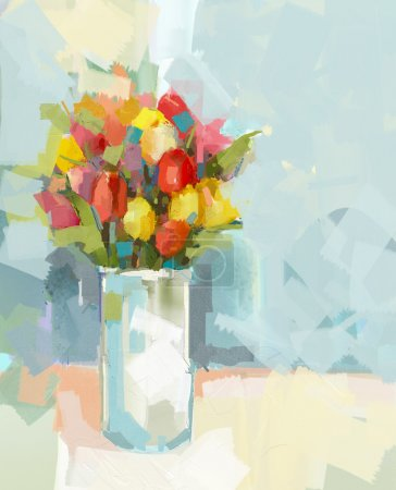 Photo for Vase with still life a bouquet of flowers. Oil painting - Royalty Free Image
