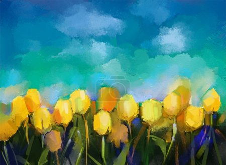 Tulips flowers.Oil painting.Abstract flower digital painting.