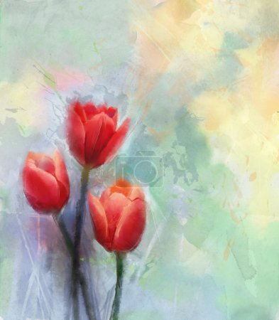 Red tulips-Watercolor flowers painting