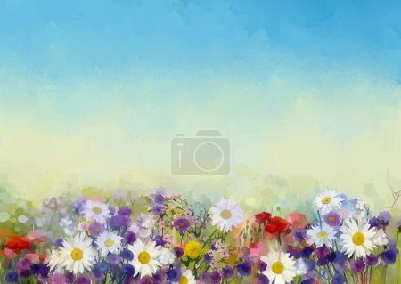 Oil painting flowers in soft color and blur style for background