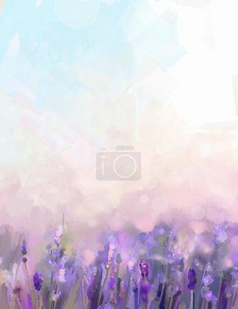 Photo pour Peinture à l'huile fleurs de lavande dans les prairies. Peinture à l'huile abstraite soleil au champ de fleurs dans la couleur pourpre doux et le style flou avec fond bokeh . - image libre de droit