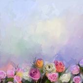"""Постер, картина, фотообои """"Натюрморт в букет цветов. Масляная живопись цветы белые, красные и желтые розы"""""""