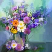 "Постер, картина, фотообои ""Картина маслом ромашки цветы в вазе."""