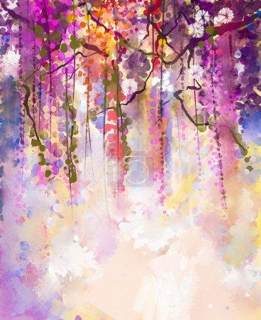 Watercolor painting. Spring purple flowers Wisteria