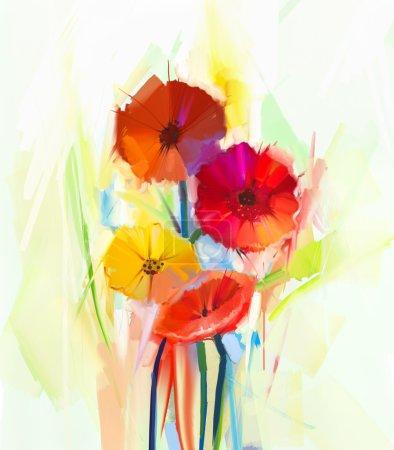 Photo pour Peinture à l'huile abstraite de fleurs de printemps. Nature morte de fleurs de gerbera jaunes et rouges. Style impressionniste floral peint à la main - image libre de droit