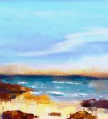 """Постер, картина, фотообои """"Абстрактные красочные картины маслом морской пейзаж на холсте. Полу- Абстрактный образ моря и пляж с волнами, скалы и голубое небо. Летний сезон природа фон"""""""