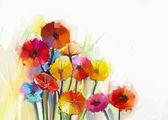 """Постер, картина, фотообои """"Натюрморт желтые и красные цветы герберы .Oil живописи из весенних цветов. Ручная роспись цветочные стиле импрессионизма"""""""