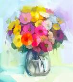 """Постер, картина, фотообои """"Натюрморт желтые и красные цветы герберы .Oil живописи букета цветов в стеклянной вазе. Ручная роспись цветочные стиле импрессионизма"""""""