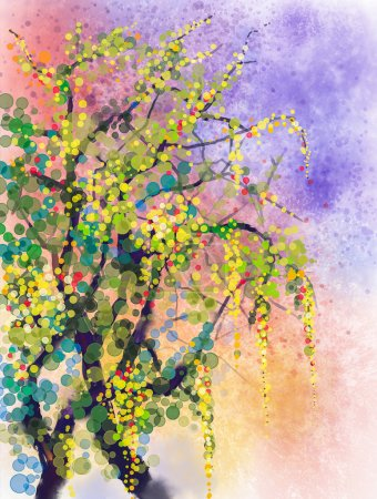 Photo for Abstract flowers watercolor painting. Spring nature season with yellow flowers Wisteria tree on grunge yellow and blue watercolor background - Royalty Free Image