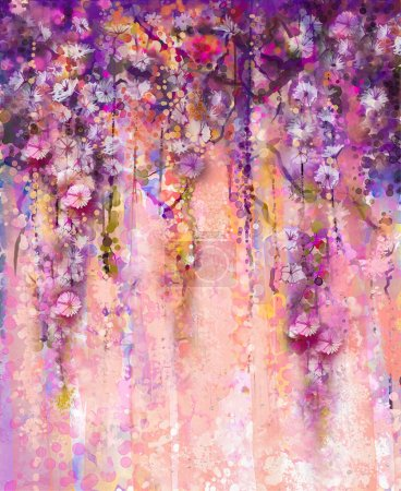 Abstract pink and violet color flowers, Watercolor painting. Hand paint flower Wisteria tree in blossom with bokeh over light purple background. Spring flower seasonal nature background