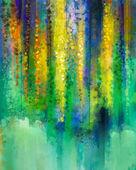 """Постер, картина, фотообои """"Абстрактный желтый цвет цветы. Акварельная живопись. Весна желтые цветы Глициния дерево в цвету с боке на зеленый цвет фона."""""""