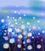 """Постер, картина, фотообои """"Абстрактные картины маслом белые цветы поле в мягкие цвета. Масляные картины белый цветок одуванчика на лугах"""""""