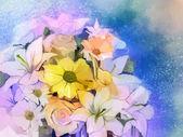 """Постер, картина, фотообои """"Картина маслом Мягкий красочный букет из розы, ромашки, лилии и герберы цветок."""""""