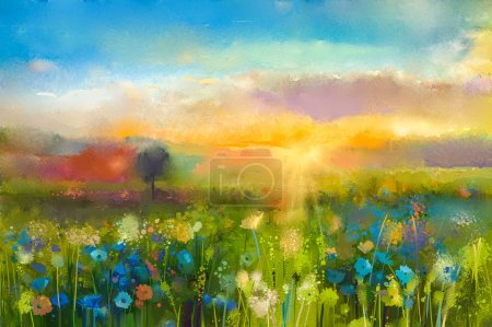 Photo pour Peinture à l'huile fleurs de pissenlit, bleuet, marguerite dans les champs. Paysage de prairie coucher de soleil avec fleurs sauvages, colline et ciel en fond de couleur orange et bleue. Peinture à la main été floral style impressionniste - image libre de droit