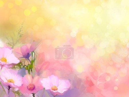 Photo pour Peinture à l'huile fleurs d'herbe nature. Peinture à la main close up rose fleur de cosmos, floral pastel et faible profondeur de champ. Arrière-plan nature floue.Fond de fleurs pring avec bokeh - image libre de droit