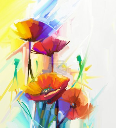 Photo pour Peinture à l'huile abstraite de fleur de printemps. Nature morte de pavot jaune, rose et rouge. Fleurs bouquet coloré avec un fond jaune clair, vert et bleu. Style impressionniste floral peint à la main - image libre de droit
