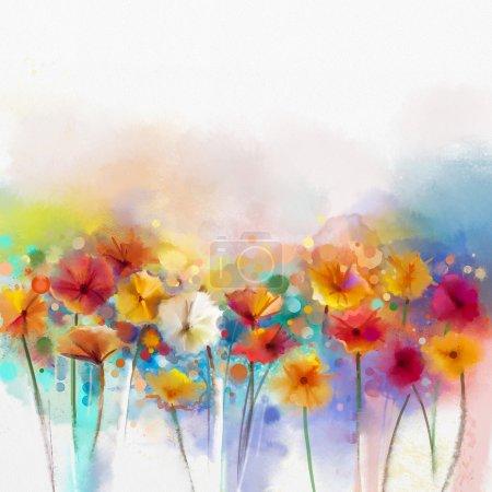 Photo pour Peinture abstraite d'aquarelle florale. Peinture à la main Couleur blanche, jaune, rose et rouge de la marguerite fleurs gerbera en couleur douce sur fond bleu-vert. - image libre de droit