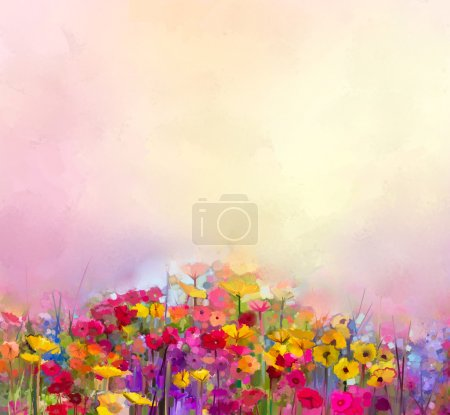 Photo for Abstract art oil painting of summer-spring flowers. Cornflower, daisy flower in fields. Meadow landscape with wildflower, Yellow-red Sky color background. Hand Paint floral Impressionist style - Royalty Free Image