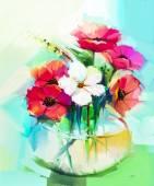 """Постер, картина, фотообои """"Букет из гербер и цветок гибискуса картины маслом"""""""