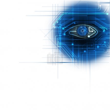 Circuit board with blue eye technology concept  background