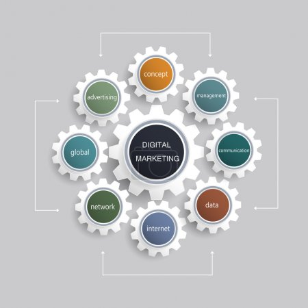 Illustration for Business digital marketing plan concept and gear wheel shape - Royalty Free Image