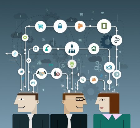 Business people connect with social network, communication in the global