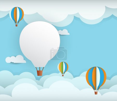Illustration for Abstract paper with white cloud and balloon on  blue sky background with space for design.Flat design style for spring card - Royalty Free Image