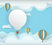 Abstract paper with white cloud and balloon