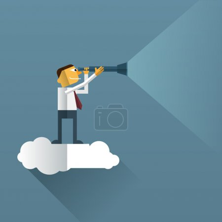 Businessman on cloud and looking with telescope