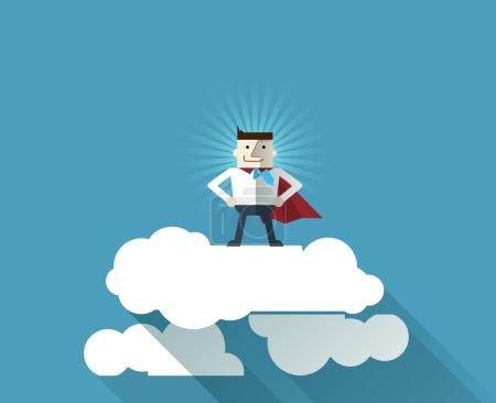 Cartoon businessman Superhero with a red cape on cloud