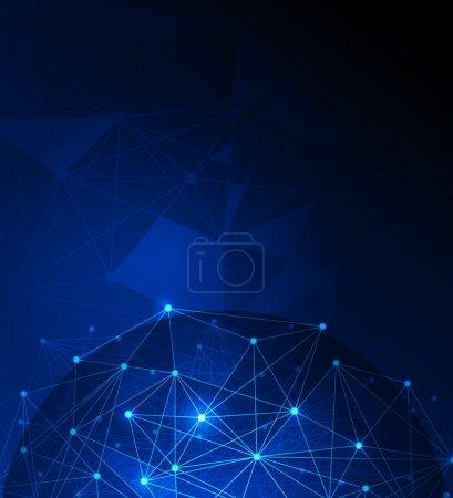 Photo pour Abstrait futuriste - Molécules et polygone technologie numérique fond bleu. Illustration Conception vectorielle concept de technologie numérique.Espace vide pour votre conception ou texte - image libre de droit
