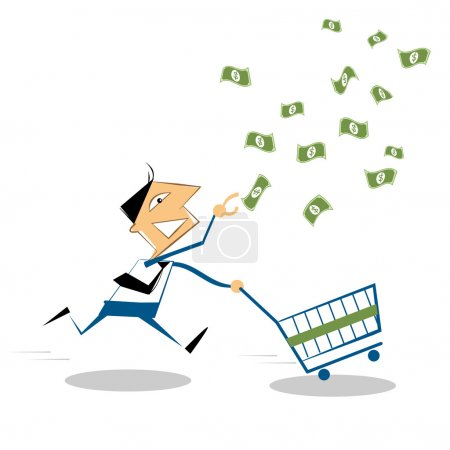 Vector cartoon businessman running with shopping cart, to grab the money in the air.