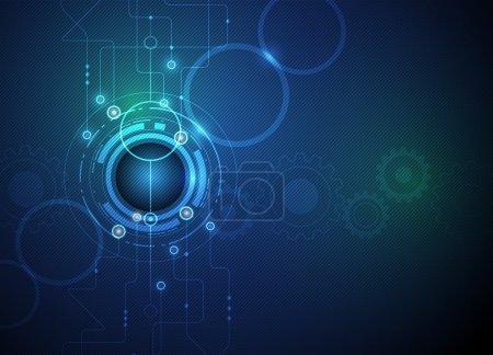 Illustration pour Illustration vectorielle Carte de circuits imprimés futuriste abstraite, haute technologie informatique, roue dentée sur fond vert bleu - image libre de droit